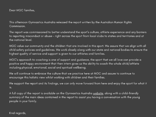 Australian Human Rights Commission Review into Gymnastics