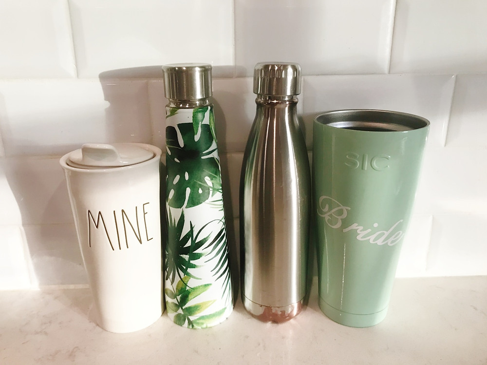 tumblers, reusable cups, reusable mugs, say no to plastic, earth day, go green, recycle, save the planet, no plastic water bottles