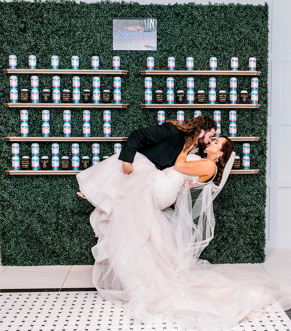 Natural Light, signature drink, Natty Light, champagne wall, Clay Theatre wedding, beer