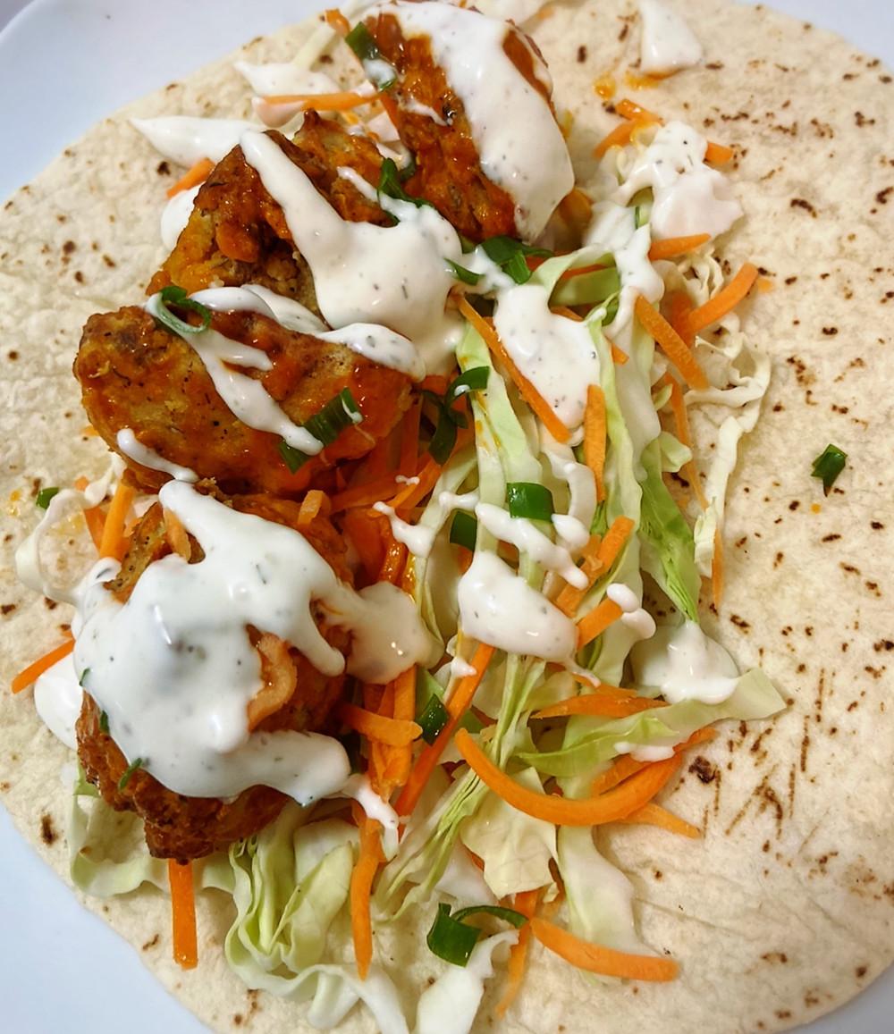 vegan tacos, vegan cauliflower tacos, fried buffalo cauliflower, vegan recipe, vegan food, vegan blog, vegan bride