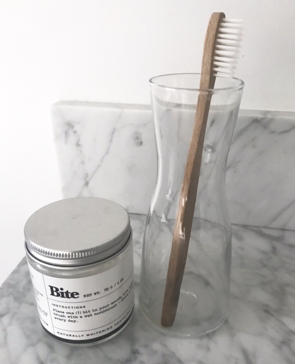 bite toothpaste, bamboo toothbrush, reusable toothpaste container, glass jar, recycle, save the animals