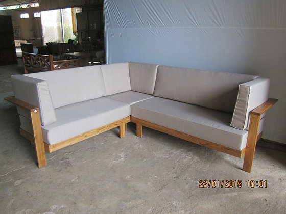 L Shaped Modern Teak Sofa