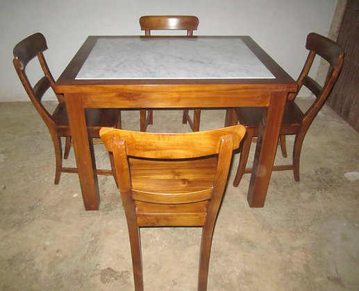 Square Center Marble Table Set