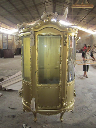 Oval Carved Display Cabinet