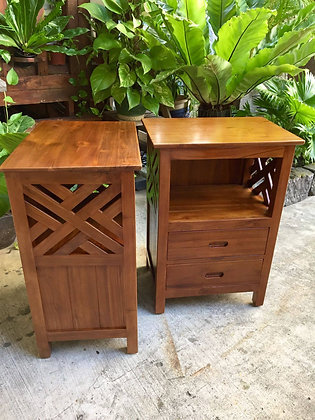 Cross Side Table 2 Drawers