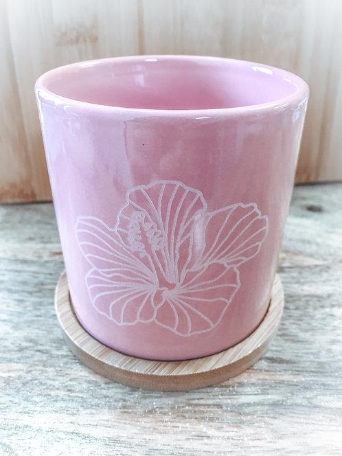 Mini Planter - Pink Hibiscus