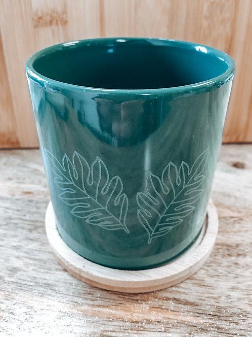 Mini Planter - Green Ulu Leaf