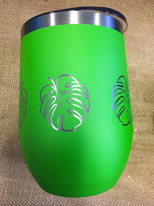 Wine Tumbler - Monstera, Lime Green