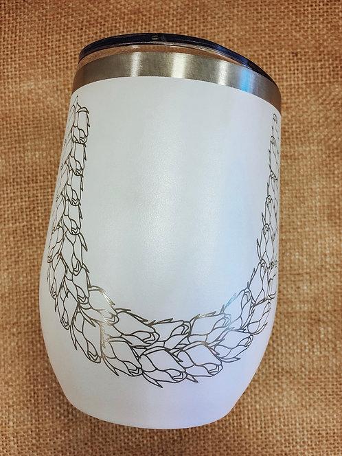 Wine Tumbler - Lokelani Lei, White