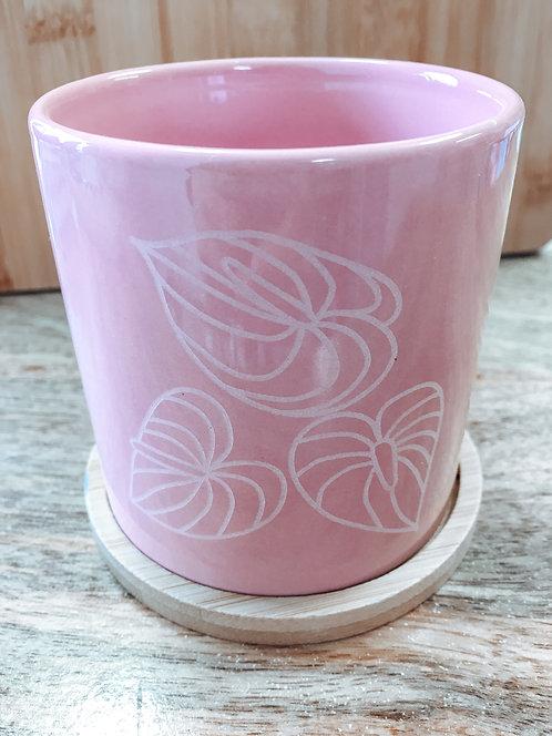 Mini Planter - Pink Anthurium