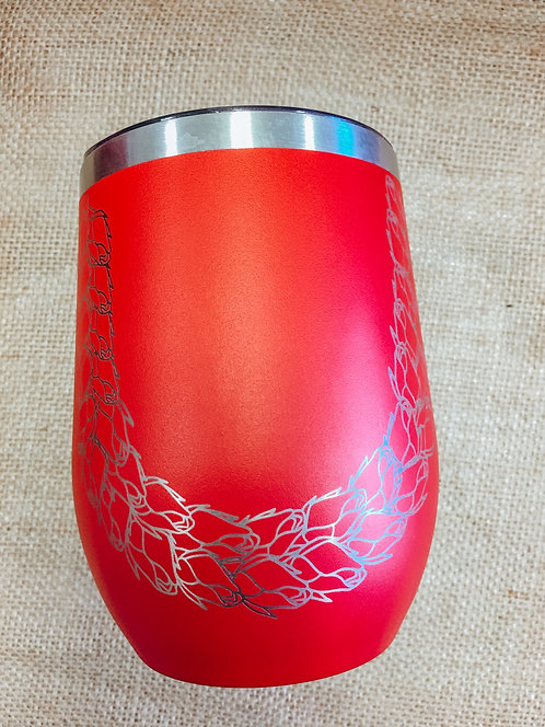 Wine Tumbler - Lokelani Lei, Red