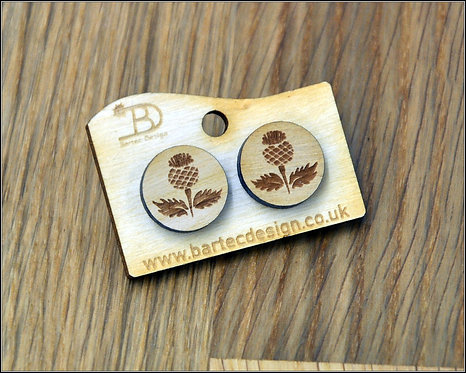 Scottish THISTLE - Wooden Earrings Studs - 15mm - REAL WOOD