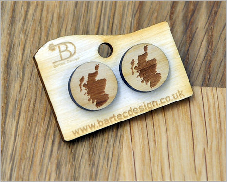 Map of Scotland - Wooden Earrings Studs - 15mm - REAL WOOD