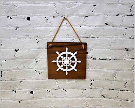 Maritime Hanging Wooden Signs - Walnut and painted Plywood