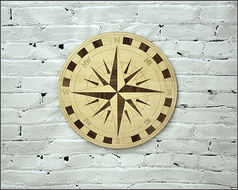 Beautiful Wooden Rose if WInds / Compass - To be hang on the wall - two sizes