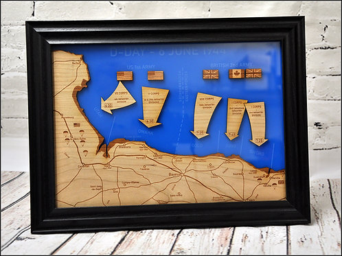 D-Day Landings Map - A4 Size, Framed, Laser cut and engraved