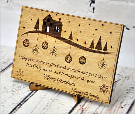 Customized Wooden Christmas Cards - House and snow