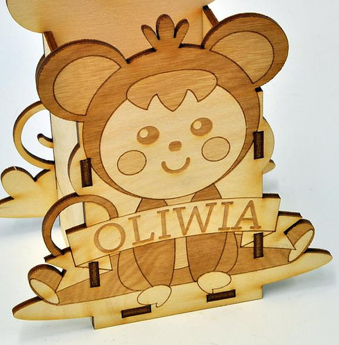 Personalised with a name crayon/pencil holder box - Monkey theme