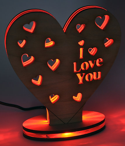 LED Heart with I LOVE YOU message in wood and perspex