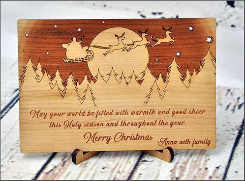 Customized Wooden Christmas Cards - Santa and reindeers over forest - Unique Chr