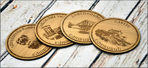 Beautiful Wooden Coasters Set of 4 with stand - Edinburgh's iconic landmarks