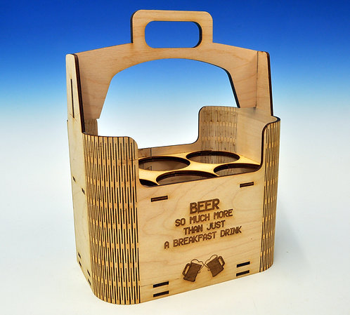 Wooden Beer Holder with personalised message - Great Gift