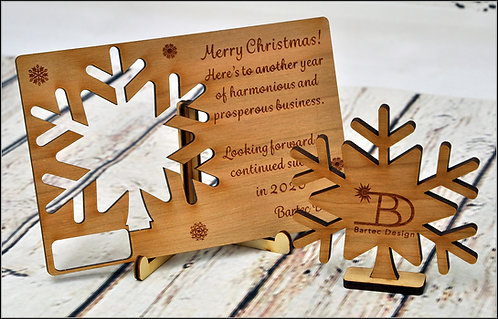 Unique wooden Christmas Card - Standing Snowflake -Personalised