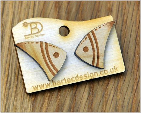 Fish - Wooden Earrings Studs - 17mm - REAL WOOD