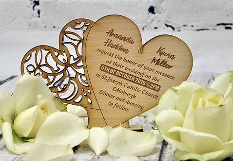 Wooden Wedding Invitation - Standing Hearts
