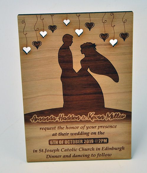 Wooden Wedding Invitation - Couple standing under hanging hearts