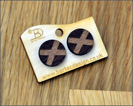 Scottish FLAG - Wooden Earrings Studs - 15mm - REAL WOOD
