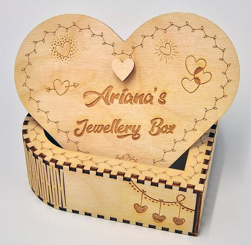 Personalised Heart Shaped Box - Plywood - Perfect gift for Valentines Day