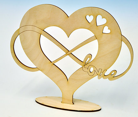Wooden Heart with Infinity Loop and writing LOVE