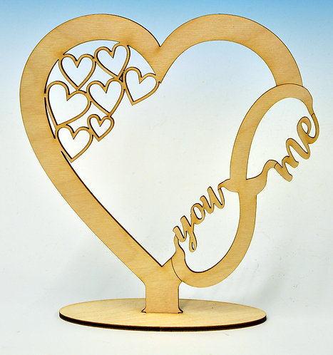 "Wooden Heart with Infinity ""You - Me"" Loop"