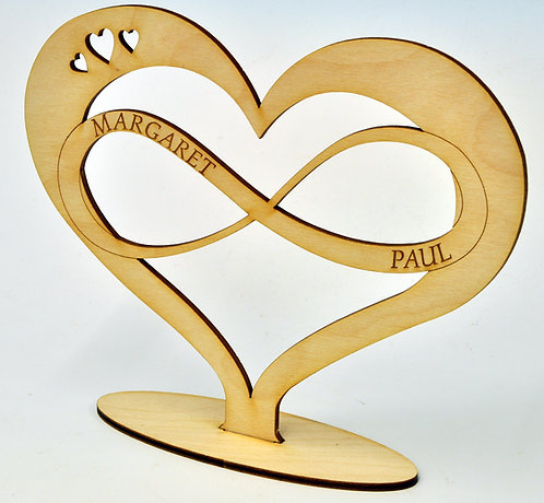 Wooden Heart and Infinity Loop with personalised engraving