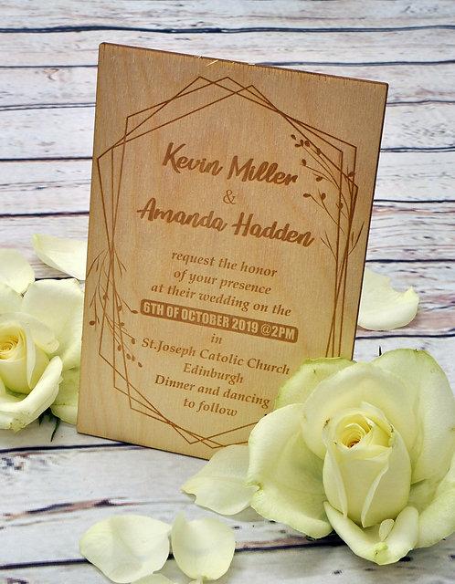 Wooden Wedding Invitation - Decorative Floral Frame