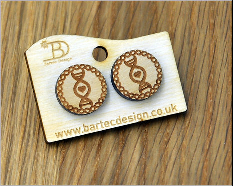 DNA string with Heart - Wooden Earrings Studs - 15mm - REAL WOOD