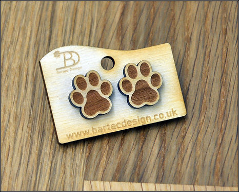 Dogs PAW - Wooden Earrings Studs - 15mm - REAL WOOD