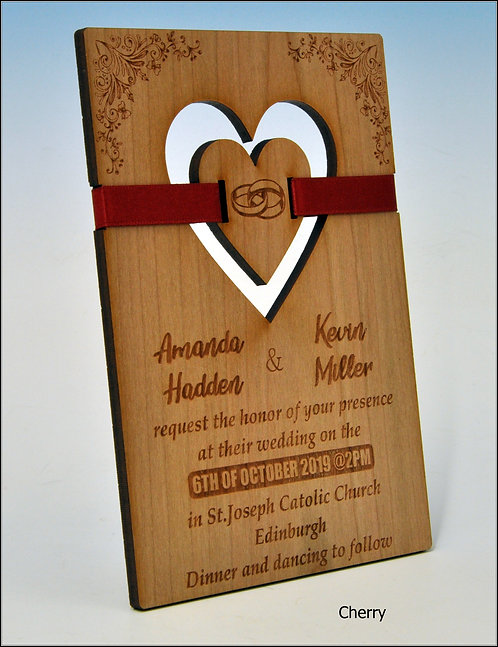 Wooden Wedding Invitation - Suspended Heart with Red Ribbon