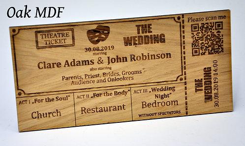 Wooden Wedding Invitation - Theatre Ticket with working QR Code