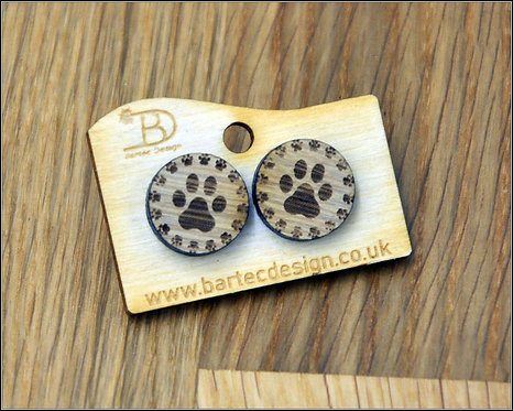 Dogs PAWS - Wooden Earrings Studs - 15mm - REAL WOOD
