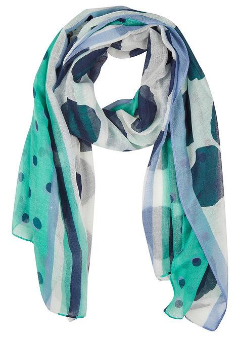 RABE Schal in weiß, türkis, dunkelblau und hellblau
