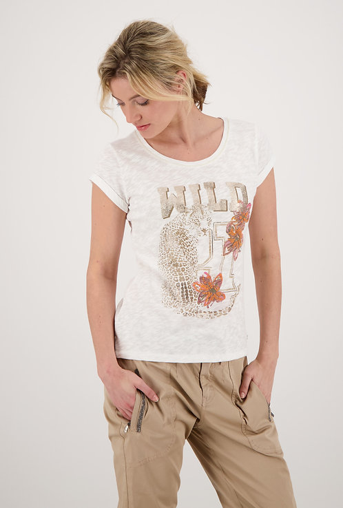 MONARI Shirt off-white Flammgarn mit Druck in gold