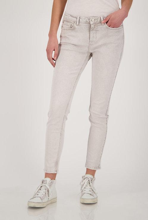 MONARI Jeans 5 Pocket mit Strasssteinen in cashew