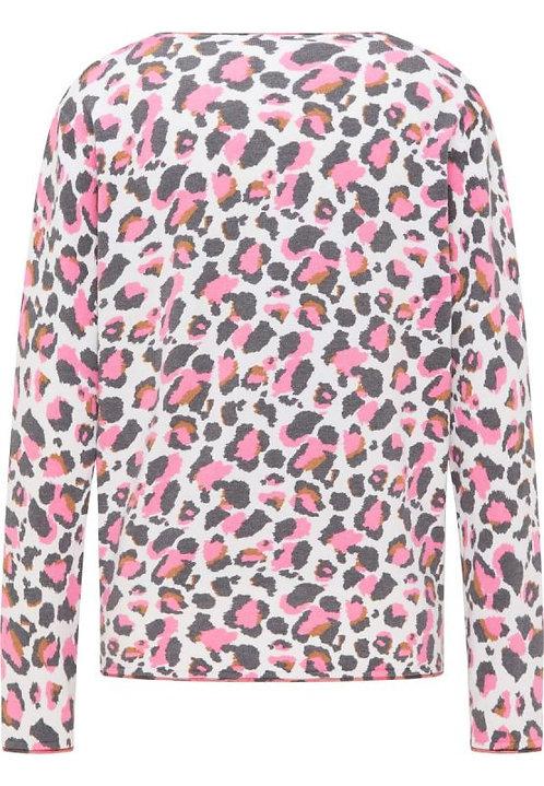FRIEDA & FREDDIES Pullover animal Print weiß, grau, pink, braun