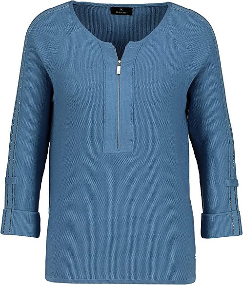 MONARI Strickpullover mit Reißverschluß blau
