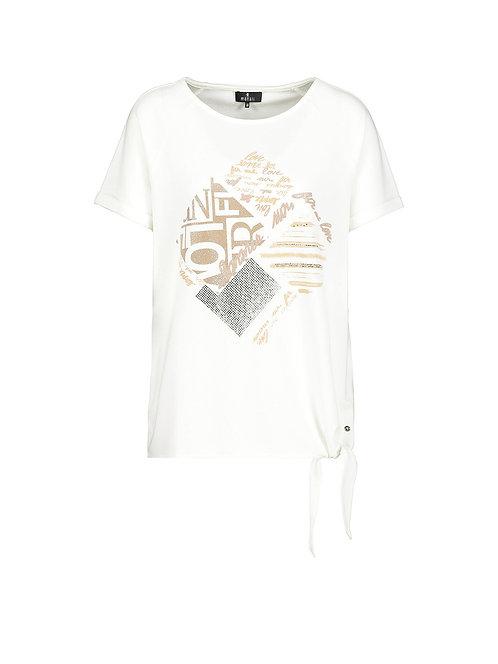MONARI Elastisches Halbarm Jersey-Shirt mit Knoten beige