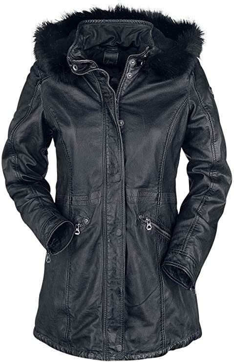 GIPSY Damenlederjacke mit Kapuze in schwarz