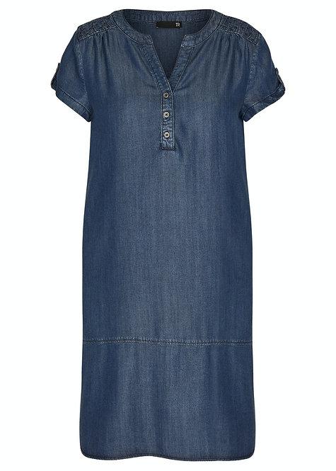 RABE Thomas Kleid in denim Knopfleiste und Kurzarm
