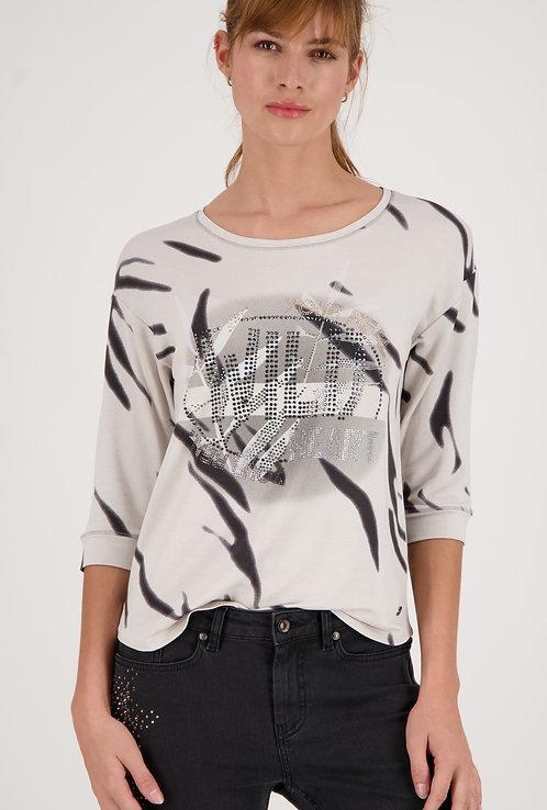 MONARI Jerseyshirt mit ¾ Arm und Strasssteinen